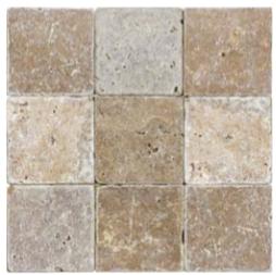 "4""x4"" Noce Tumbled Travertine Tile 73-002"