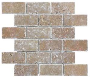 "2""x4"" Noce Tumbled Travertine Mosaic Tile 76-122"