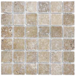 "2""x2"" Noce Tumbled Travertine Mosaic Tile 76-072"