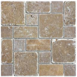 Noce Tumbled Travertine Roman Pattern Mosaic Tile 76-151