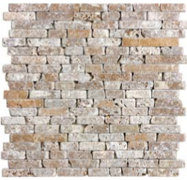 "5/8"" Noce Tumbled Travertine Random Strip Mosaic Tile 76-136"