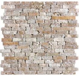 "5/8"" Noce Tumbled Travertine Random Strip Mosaic Tile 76-136"