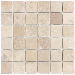 "2""x2"" Berkshire Crema Tumbled Marble Mosaic Tile 76-071"