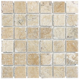 "Anatolia - 2""x2"" Picasso Travertine Tumbled Mosaic Tile 76-103"
