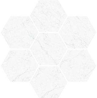 "Vallelunga - Carrara Esagona Hexagon Porcelain Mosaic Tile (11.8""x11.1"" Sheet)"