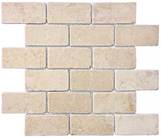"2""x4"" Berkshire Crema Tumbled Marble Mosaic Tile 76-121"