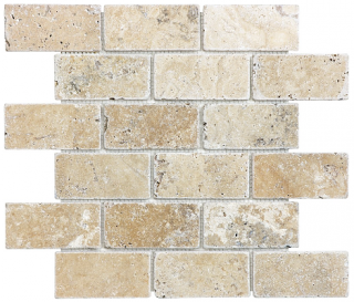 "Anatolia - 2""x4"" Picasso Travertine Tumbled Brick Mosaic Tile 76-125"