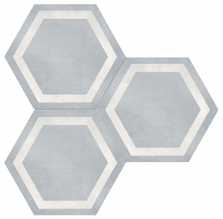 "Anatolia - 7""x8"" Form Tide Hexagon Frame Porcelain Tile 60-409"