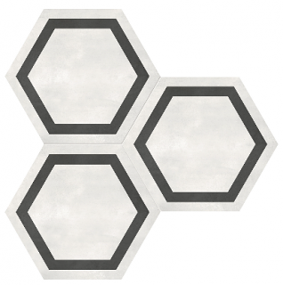 "Anatolia - 7""x8"" Form Ivory Hexagon Frame Porcelain Tile 60-405"