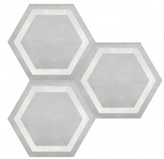 "Anatolia - 7""x8"" Form Ice Hexagon Frame Porcelain Tile 60-407"