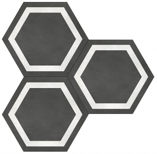"Anatolia - 7""x8"" Form Graphite Hexagon Frame Porcelain Tile 60-408"