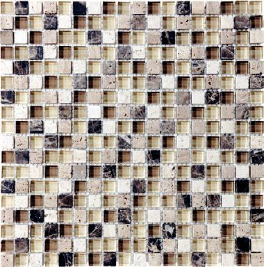 "Anatolia - 5/8""x5/8"" Bliss Cappucinno Glass Stone Blend Mosaic Tile 35-002"