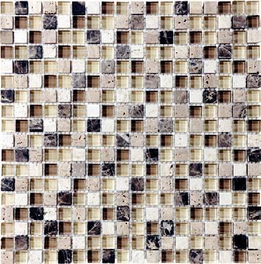 "Anatolia - 5/8""x5/8"" Bliss Cappucinno Glass Stone Blend Mosaic Tile 35-002"