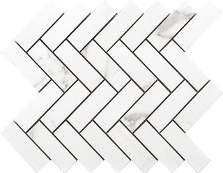"Happy Floors - Statuario Glossy Herringbone Mosaic Tile (9""x12"" Sheet)"