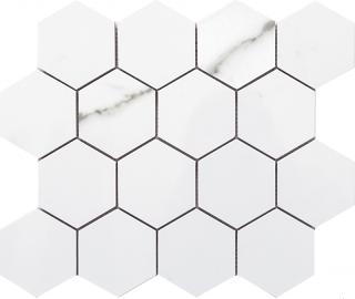 "Happy Floors - Statuario Glossy Large Hexagon Mosaic Tile (11""x13"" Sheet)"
