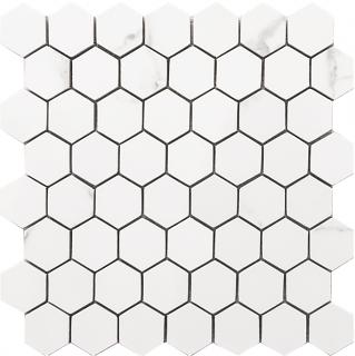 "Happy Floors - Statuario Glossy Small Hexagon Mosaic Tile (10-1/2""x11"" Sheet)"