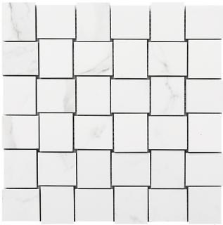 "Happy Floors - Statuario Glossy Basketweave Mosaic Tile (12""x12"" Sheet)"