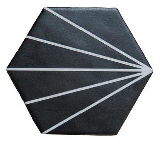 """Heralgi - 6""""x7"""" Geometric Black Striped Porcelain Tile"""