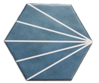 "Heralgi - 6""x7"" Geometric Blue Marine Striped Porcelain Tile"