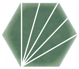 "Heralgi - 6""x7"" Geometric Green Striped Porcelain Tile"