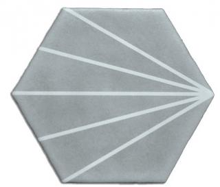 "Heralgi - 6""x7"" Geometric Grey Striped Porcelain Tile"