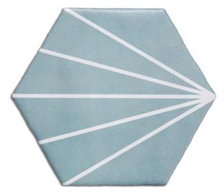 "Heralgi - 6""x7"" Geometric Turquoise Striped Porcelain Tile"