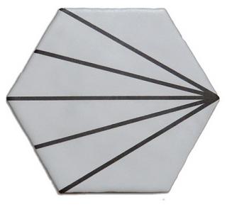 "Heralgi - 6""x7"" Geometric White Striped Porcelain Tile"
