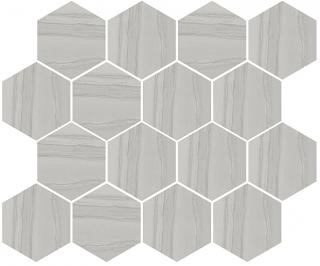 "Happy Floors - Silver Grey Hexagon Mosaic Tile (12""x14"" Sheet)"