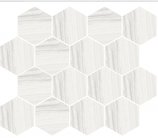 "Happy Floors - Silver White Hexagon Mosaic Tile (12""x14"" Sheet)"