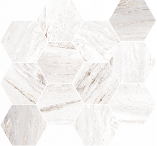 "Happy Floors - Bellagio Light Hexagon Mosaic Tile (12""x14"" Sheet)"