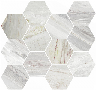 "Happy Floors - Bellagio Silver Hexagon Mosaic Tile (12""x14"" Sheet)"