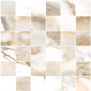 "Happy Floors - 2""x2"" Crash Beige Natural Mosaic Tile (12""x12"" Sheet)"