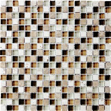 "Anatolia - 5/8""x5/8"" Bliss Bamboo Glass Stone Blend Mosaic Tile 35-003"