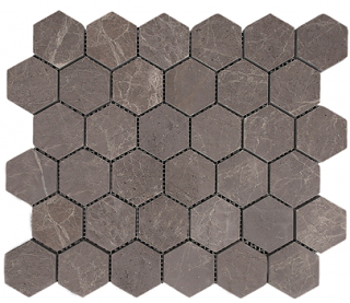 "Interceramic - 2""x2"" Astoria Gray Polished Marble Hexagon Mosaic (12""x12"" Sheet)"
