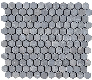 "Interceramic - 1""x1"" Astoria Gray Tumbled Marble Hexagon Mosaic (12""x12"" Sheet)"