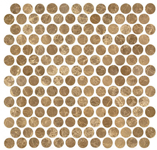 "Interceramic - 1""x1"" Emperador Light Polished Marble Penny Round Mosaic Tile"