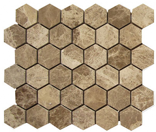 "Interceramic - 2""x2"" Emperador Light Polished Marble Hexagon Mosaic Tile"