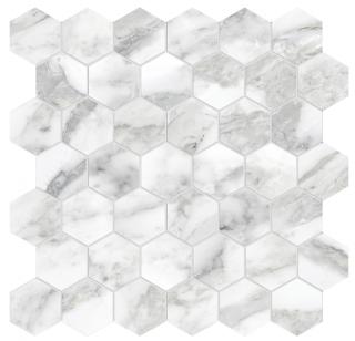 """Anatolia - 2"""" La Marca Arabescato Honed Hexagon Mosaic Tile"""