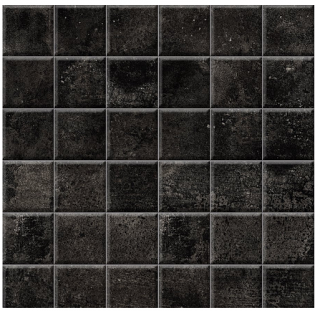 "Iris - 2""x2"" Brooklyn Cemento Black Honed Mosaic Tile"