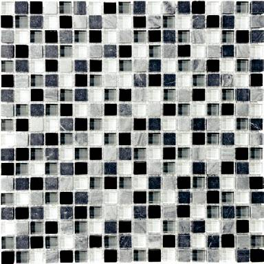 "Anatolia - 5/8""x5/8"" Bliss Midnight Glass Stone Blend Mosaic Tile 35-004"