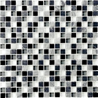 "Anatolia - 5/8""x5/8"" Bliss Midnight Glass Stone Blend Mosaic Tile 35-004"