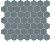 "Marazzi - 1-1/2""x1-1/2"" Moroccan Concrete Blue Gray Porcelain Hexagon Mosaic Tile MC54"