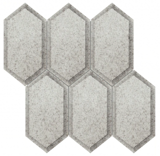 Anatolia - Obsidian Antique Silver Beveled Crystal Hexagon Mirror Mosaic Tile