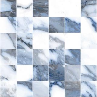 "Happy Floors - 2""x2"" Crash Blue Polished Porcelain Mosaic Tile (12""x12"" Sheet)"