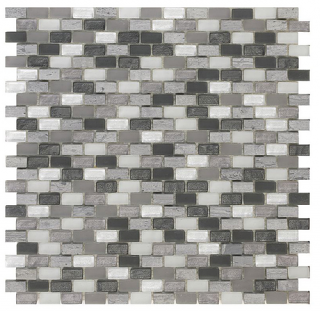 "SoBe Dusk Mini-Brick Mosaic (11.3""x11.4"" Sheet)"