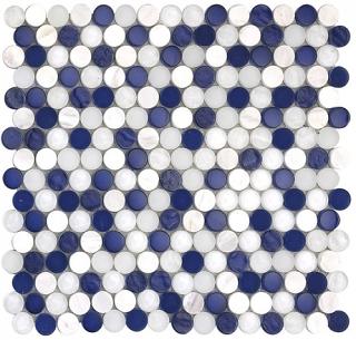 "SoBe Marine Penny Round Mosaic (12.4""x11.5"" Sheet)"