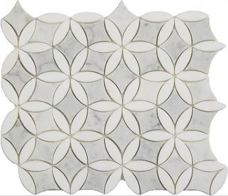 """Carrara & Thassos Flora Mosaic (12""""x13"""" Sheet)"""