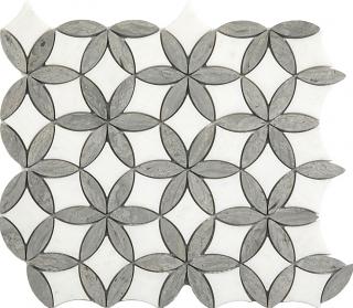 "Paper White & Wooden Silver Flora Mosaic (12""x13"" Sheet)"