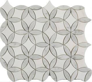 """Thassos & Carrara Flora Mosaic (12""""x13"""" Sheet)"""