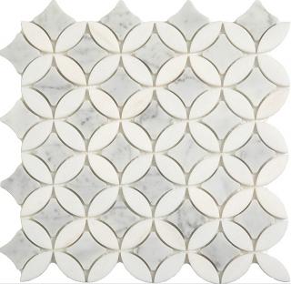 "Carrara & Thassos Superellipse Mosaic (12""x12"" Sheet)"